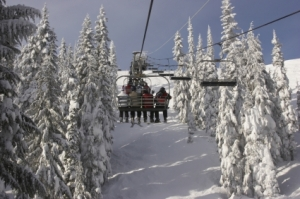 Skiers at Stevens Pass