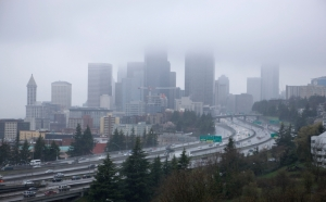 Downtown Seattle in a Rain Storm and Fog
